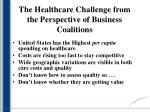 the healthcare challenge from the perspective of business coalitions