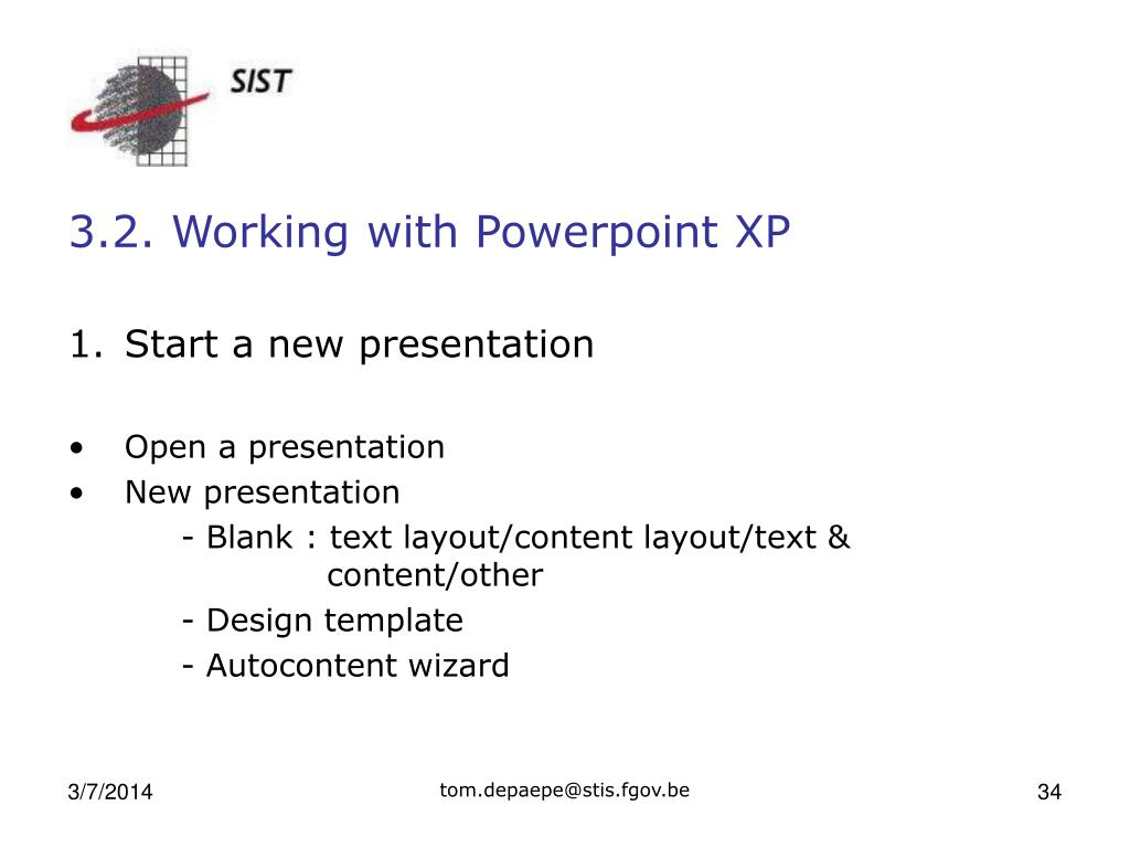 3.2. Working with Powerpoint XP