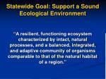 statewide goal support a sound ecological environment