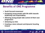 benefits of one programme
