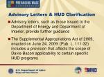 advisory letters hud clarification