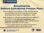 annualization defined contribution pension plans