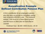 annualization example defined contribution pension plan