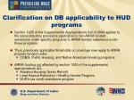 clarification on db applicability to hud programs