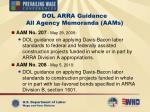 dol arra guidance all agency memoranda aams