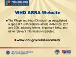 whd arra website