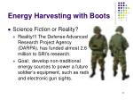 energy harvesting with boots