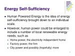 energy self sufficiency