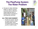 the playpump system the water problem
