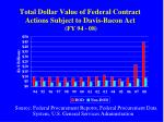 total dollar value of federal contract actions subject to davis bacon act fy 94 08
