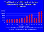 total number of dod contract actions subject to the service contract act fy 94 08