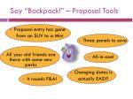 say backpack proposal tools