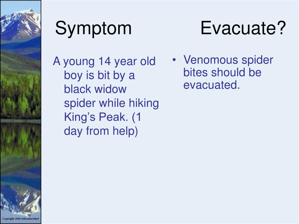 A young 14 year old boy is bit by a black widow spider while hiking King's Peak. (1 day from help)