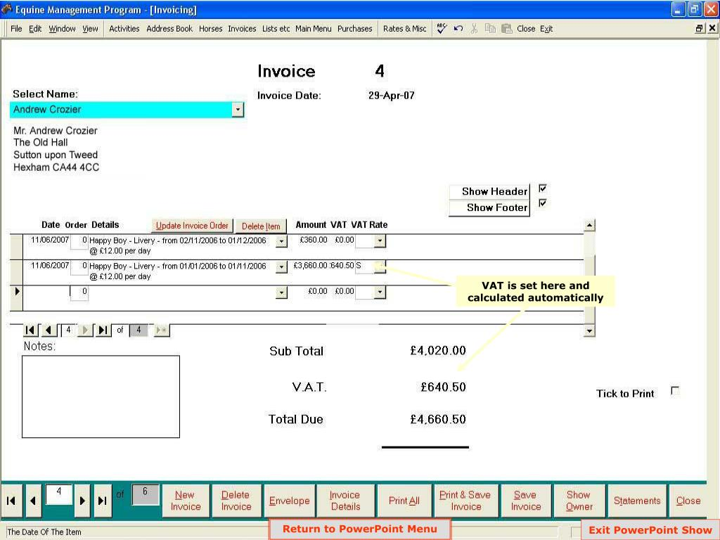 VAT is set here and calculated automatically