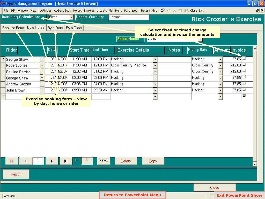 Select fixed or timed charge calculation and invoice the amounts