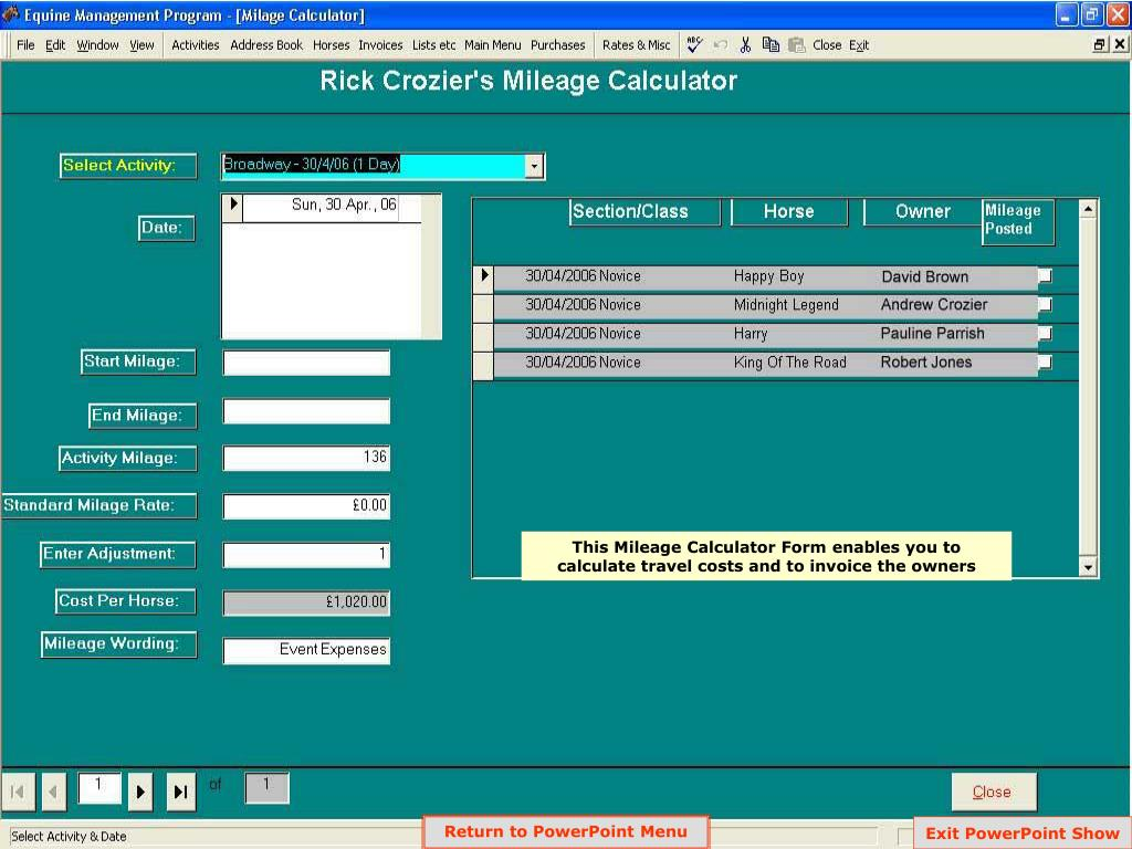This Mileage Calculator Form enables you to calculate travel costs and to invoice the owners