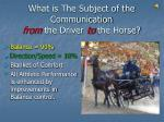 what is the subject of the communication from the driver to the horse