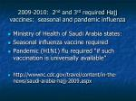 2009 2010 2 nd and 3 rd required hajj vaccines seasonal and pandemic influenza
