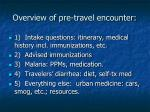 overview of pre travel encounter