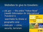 websites to give to travelers
