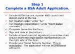 step 1 complete a bsa adult application