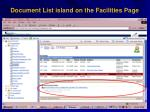 document list island on the facilities page