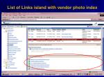 list of links island with vendor photo index