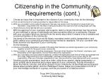 citizenship in the community requirements cont