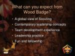 what can you expect from wood badge