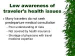 low awareness of traveler s health issues