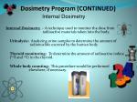 dosimetry program continued