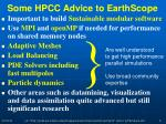 some hpcc advice to earthscope