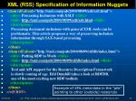 xml rss specification of information nuggets