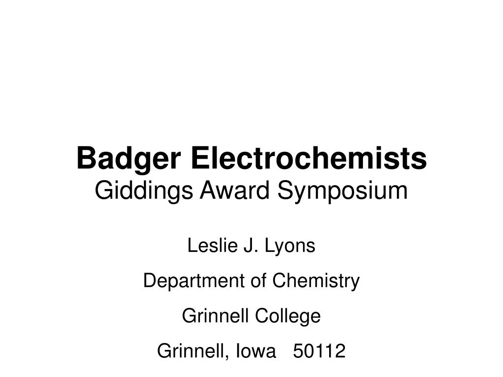 badger electrochemists l.