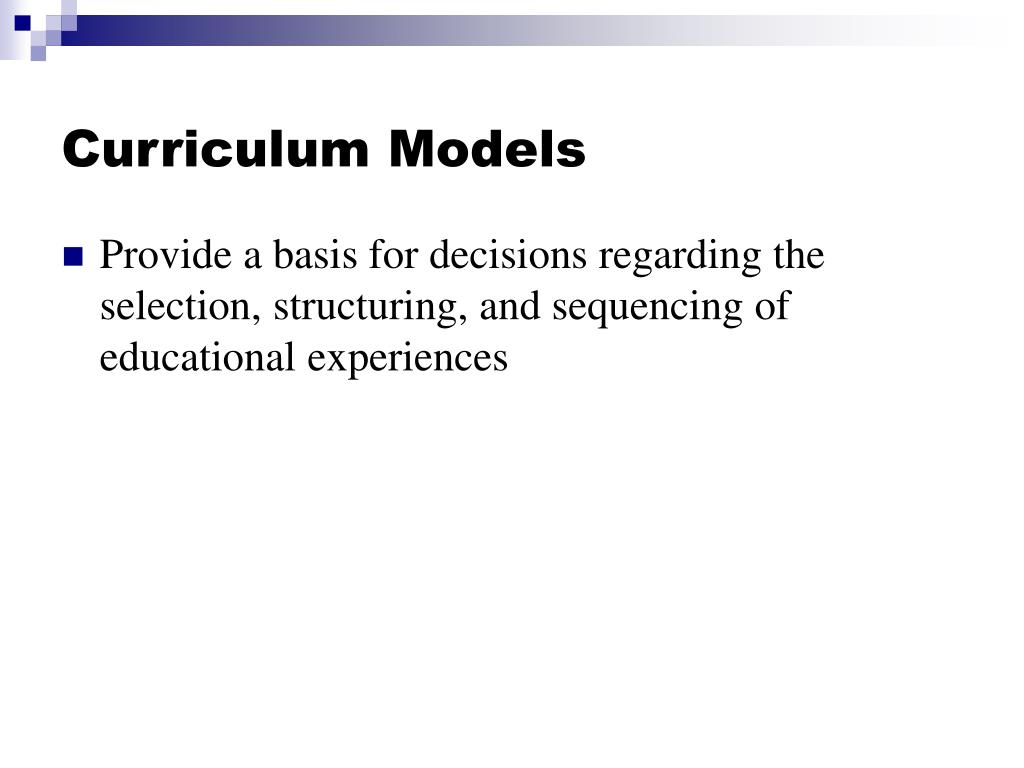 curriculum models l.