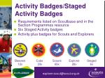 activity badges staged activity badges