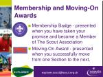 membership and moving on awards