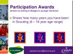 participation awards known as joining in badges in younger sections