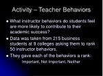 activity teacher behaviors