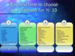 it is now time to choose your pathway for yr 10
