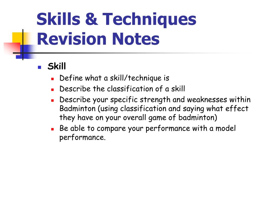 skills techniques revision notes l.