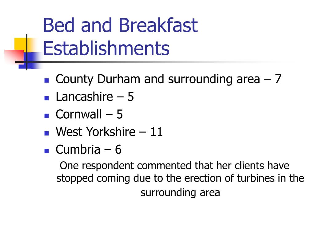 Bed and Breakfast Establishments