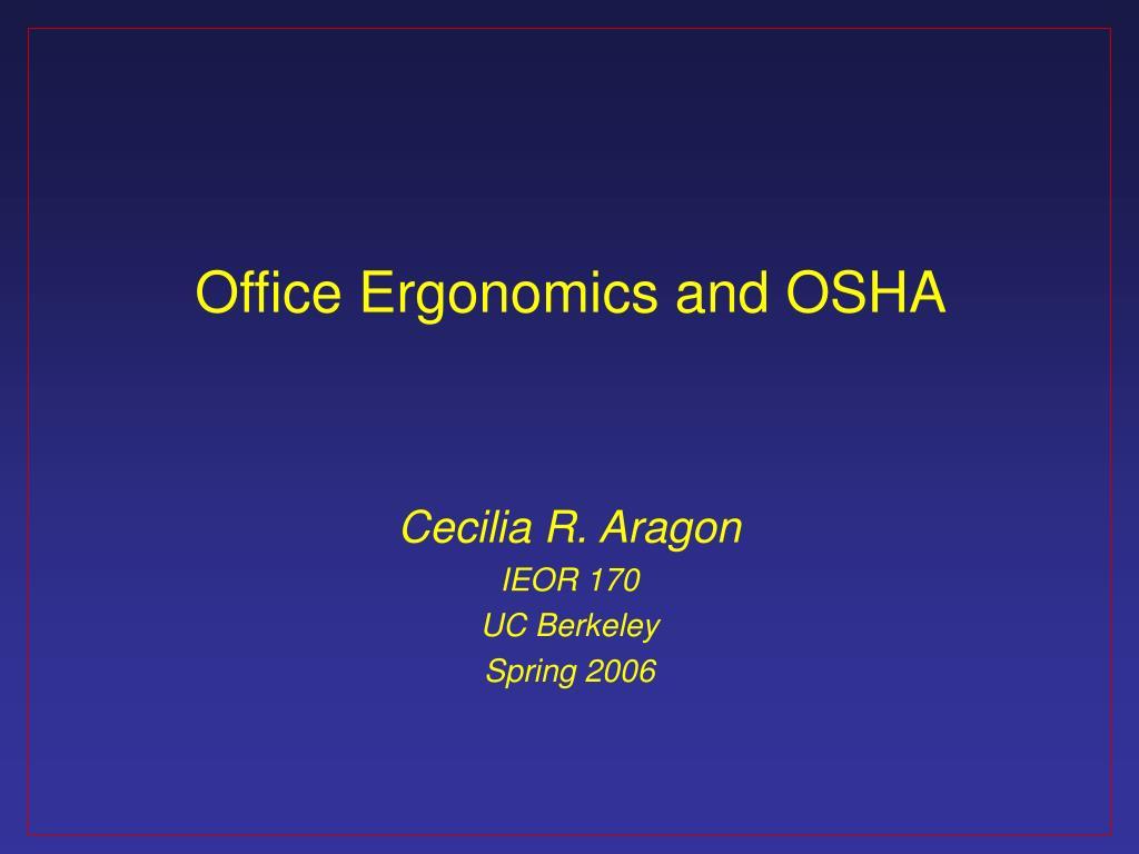office ergonomics and osha l.