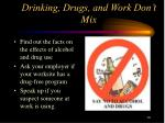 drinking drugs and work don t mix