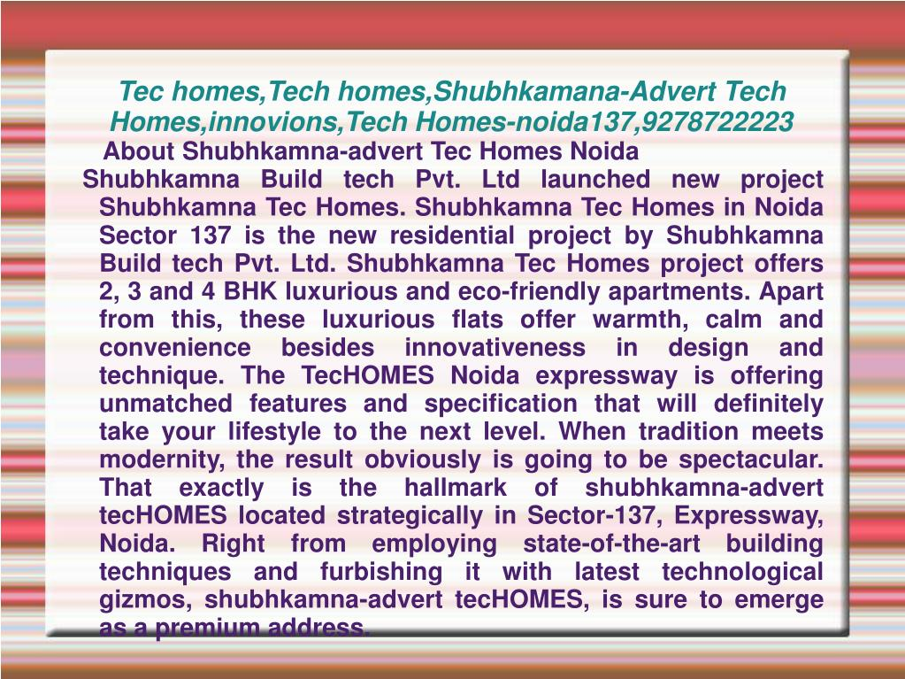 tec homes tech homes shubhkamana advert tech homes innovions tech homes noida137 9278722223 l.