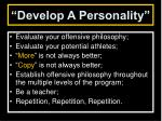 develop a personality