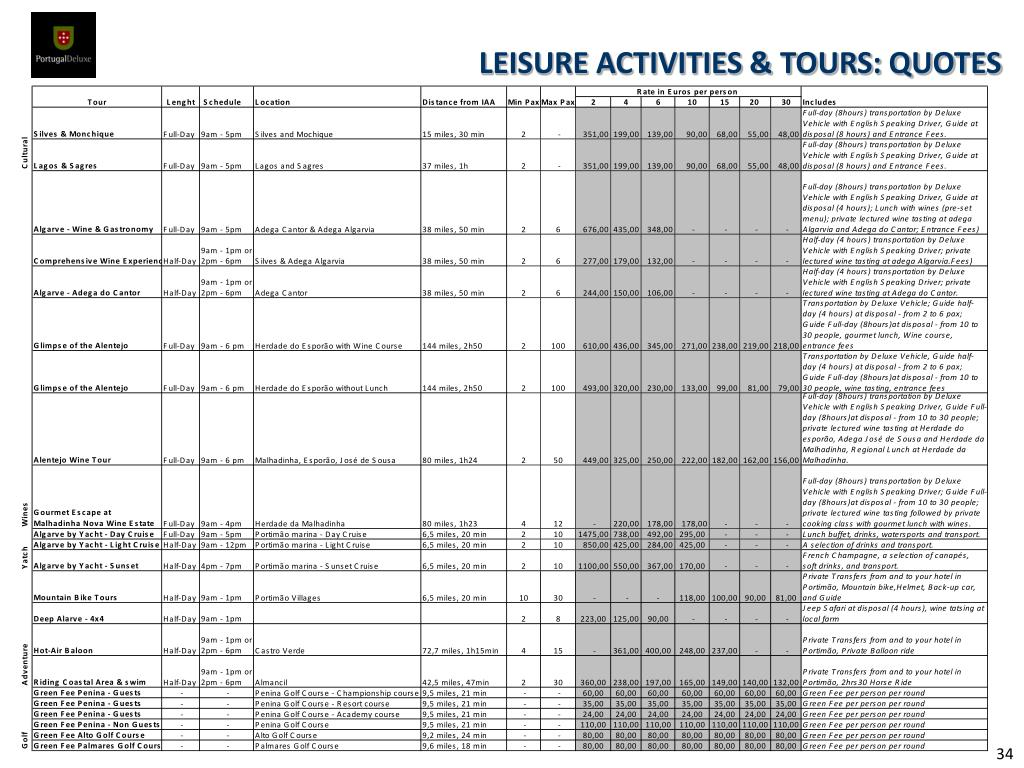 LEISURE ACTIVITIES & TOURS: QUOTES