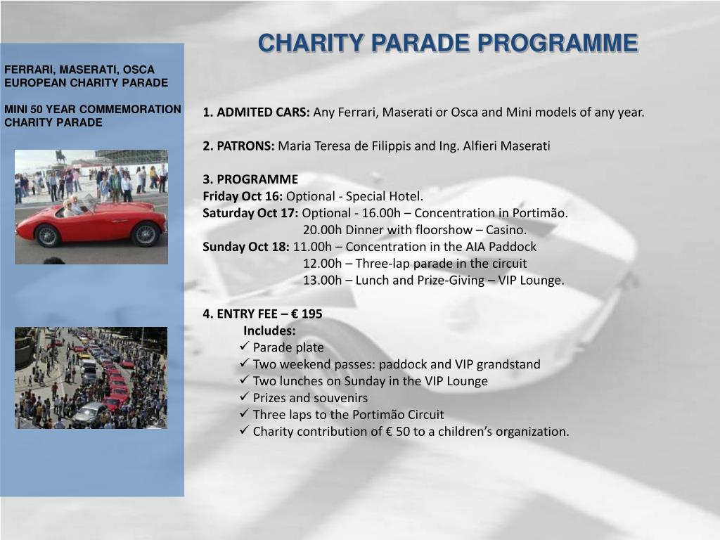 CHARITY PARADE PROGRAMME
