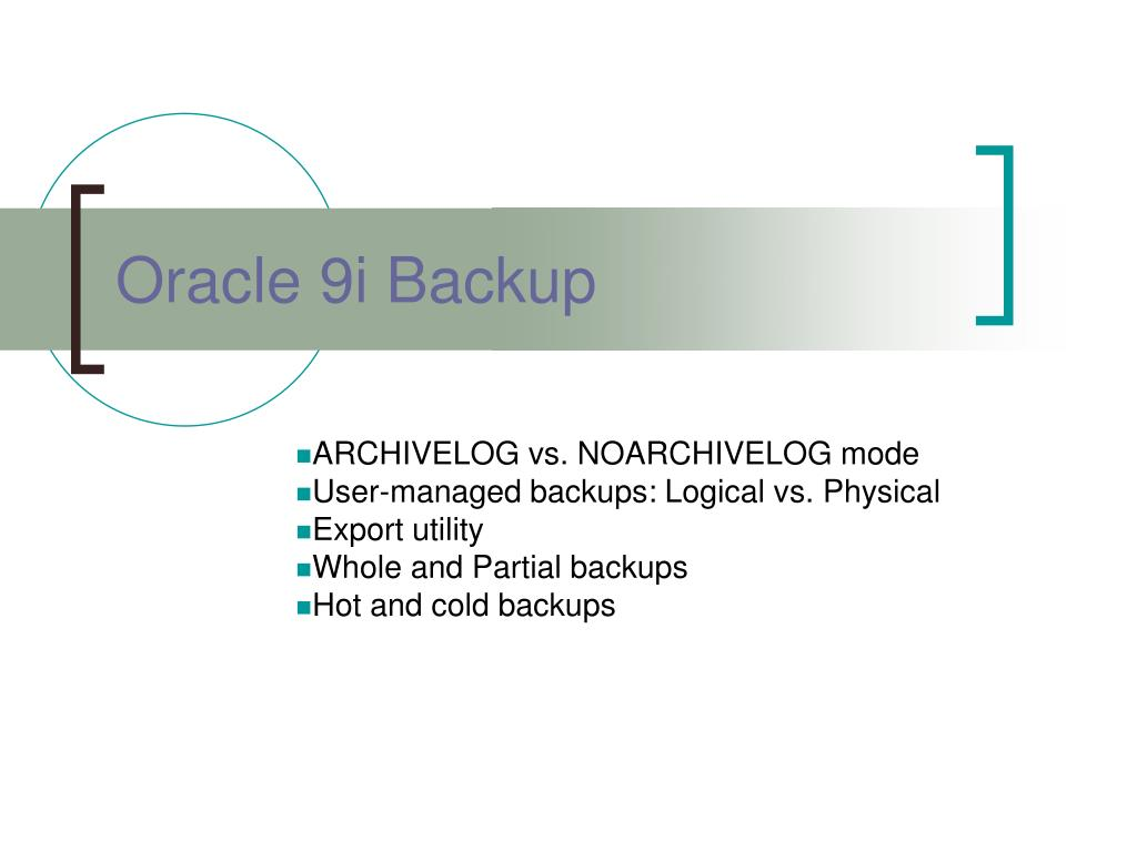 oracle 9i backup l.