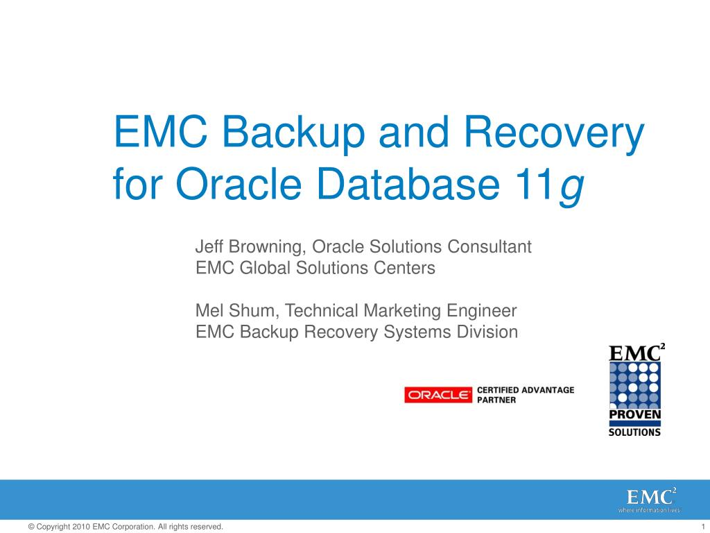 emc backup and recovery for oracle database 11 g l.